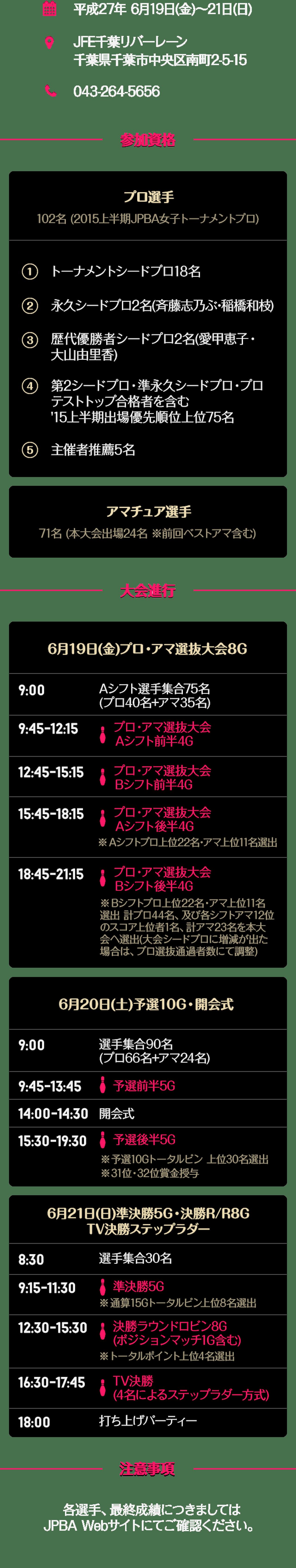 2015 千葉女子オープン 大会概要